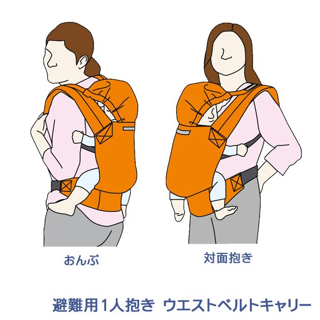 避難用1人抱きウエストベルトキャリー:抱き方